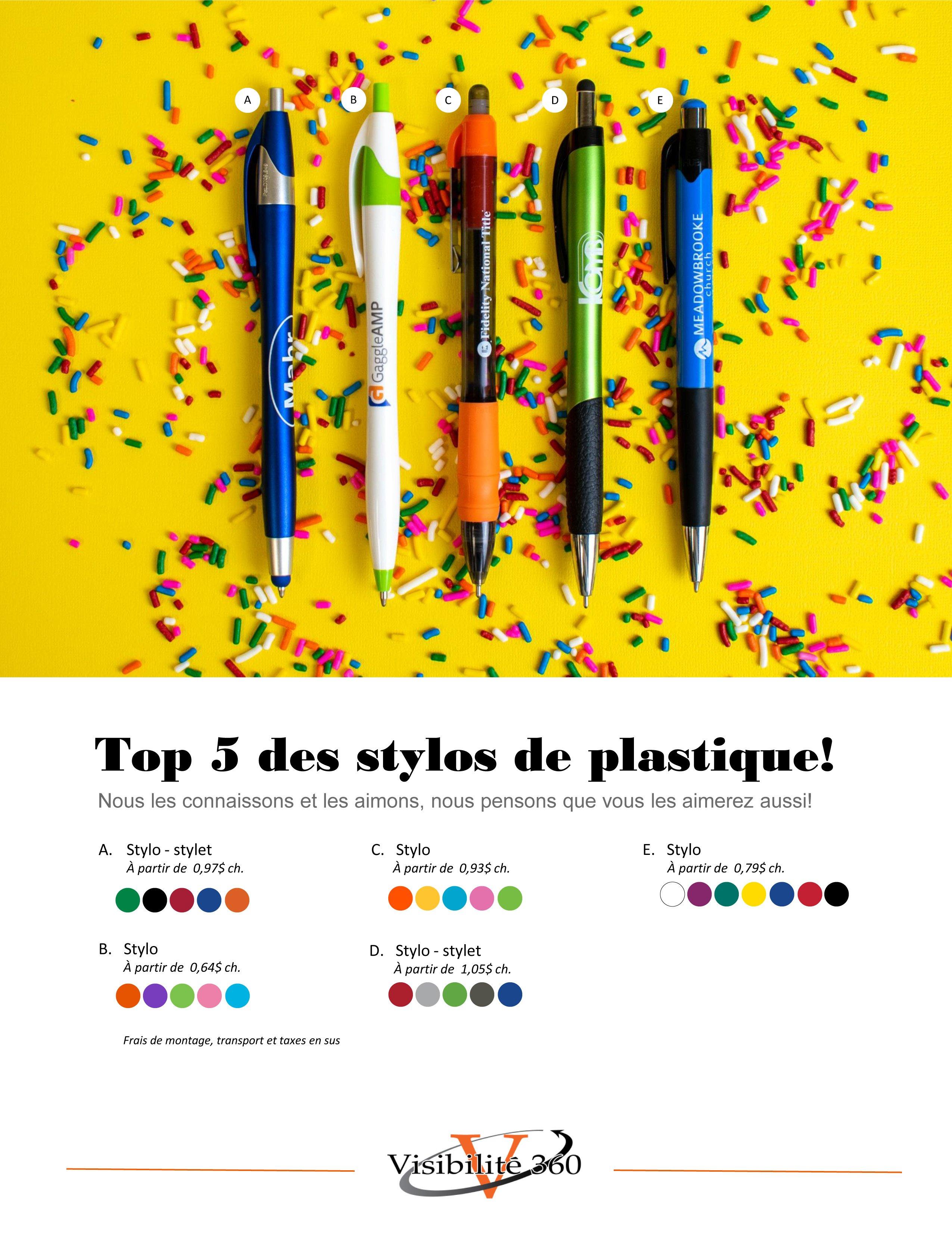 Top 5 des stylos de plastique!